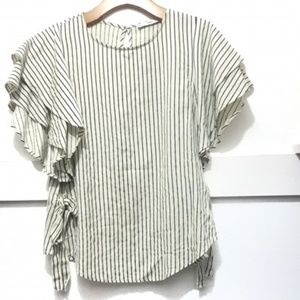 Mango Ruffle Top Off-White Blue Stripes